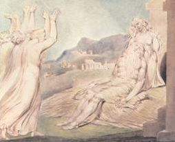 an image from William Blake, on the eventual comforting of Job